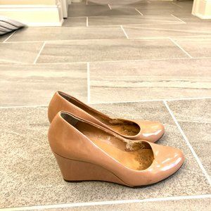 J.Crew Nude Patent Leather Wedge Pumps